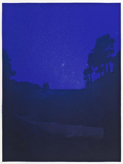 Noche de verano,  2013.  Flashe y gouache sobre papel Arches  Papel 46 x 61 cm / Imagen 44 x 59 cm