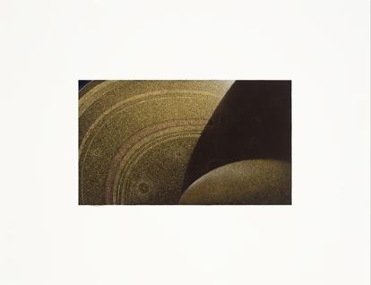 Saturno,  2013.  Flashe y gouache sobre papel Arches  Papel 61 x 46 cm / Imagen 35 x 20 cm