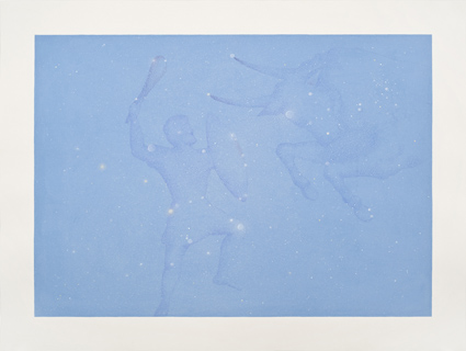 Tauro y orion,  2013.  Flashe y gouache sobre papel Arches  Papel 61 x 46 cm / Imagen 52 x 37 cm