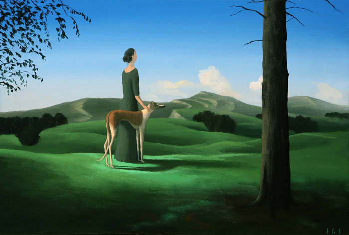 Dama con galgo  - Óleo sobre lienzo - 22x33