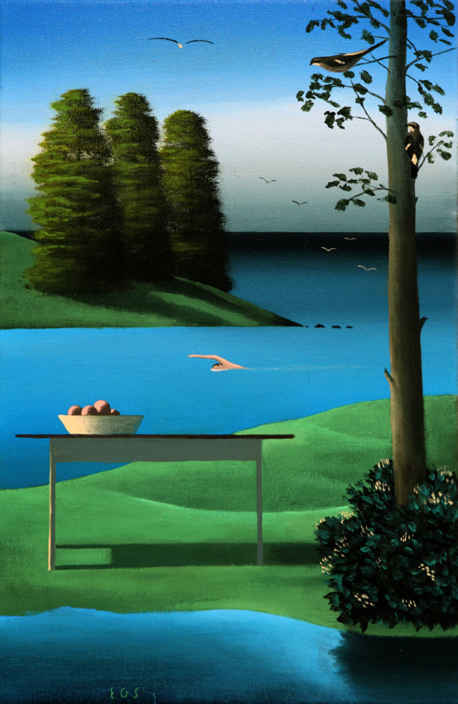 El nadador  - Óleo sobre lienzo - 33x22