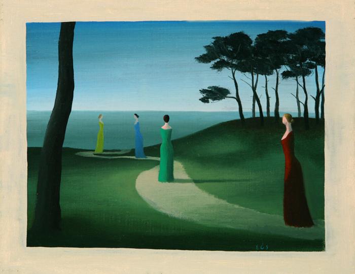 El paseo de las damas  - Óleo sobre lienzo - 21x26