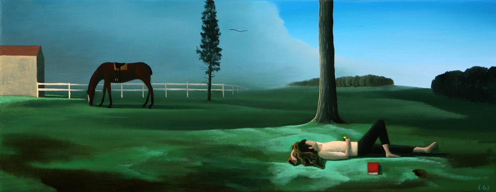 Jinete melancólico  - Óleo sobre lienzo -  20x50