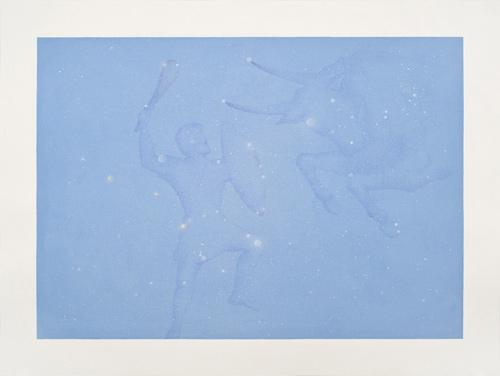 Alejandra Roux. Tauro y orion,2.013, Flash y gouache sobre papel Arches Papel 61 x 46 cm / Imagen 52 x 37 cm
