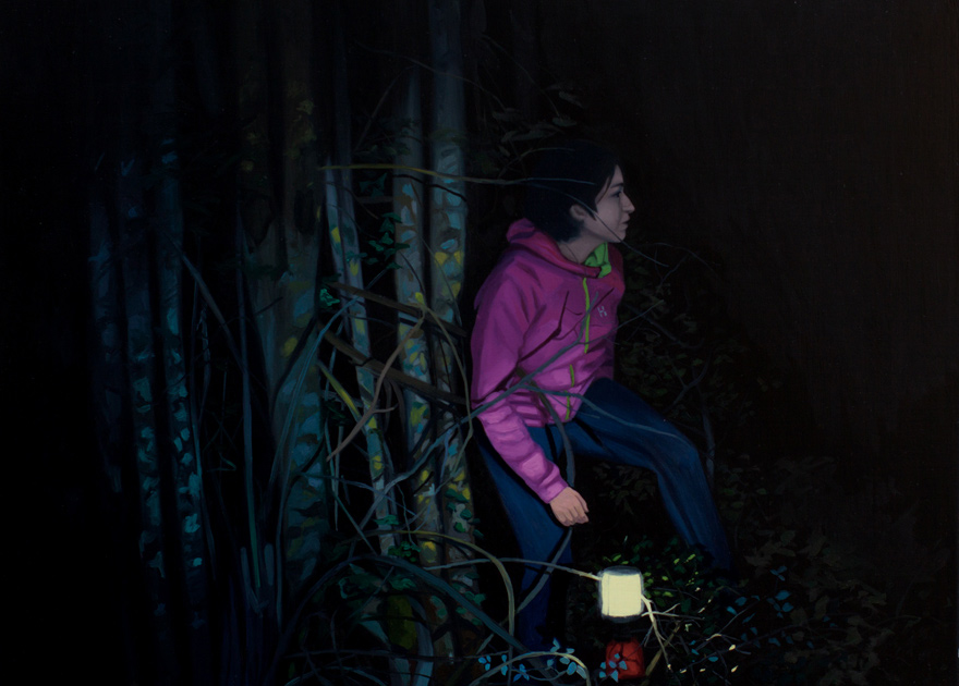 Iker Serrano. Máscaras en la Oscuridad I, 2014.Óleo sobre lienzo,38 x 46 cm