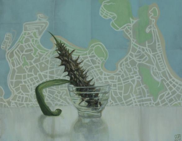 Espino y mapa de Río (2012). Óleo/lienzo, 27 x 35 cm.
