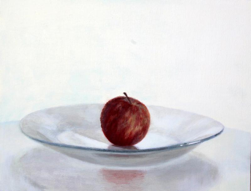 Manzana (2015). Óleo/lienzo, 27 x 35 cm.