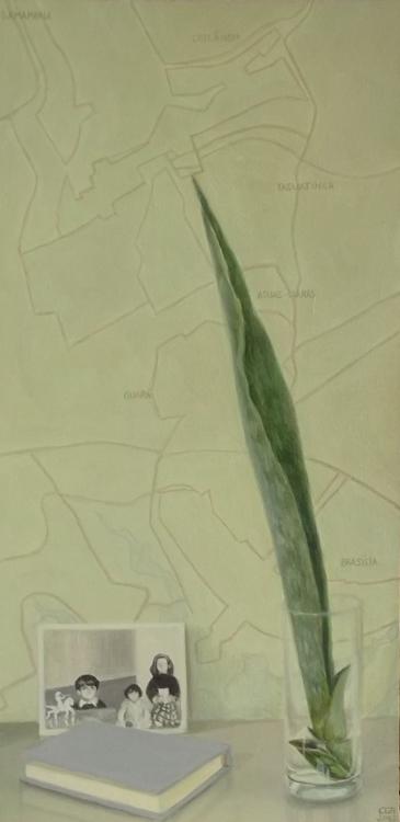 Niños, libro y planta (2012). Óleo/lienzo, 60 x 30 cm.