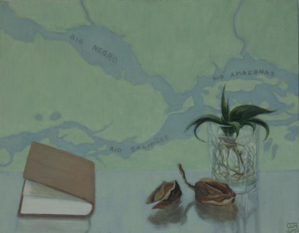 Semillas, libro y mapa (2012). Óleo/lienzo, 27 x 35 cm.