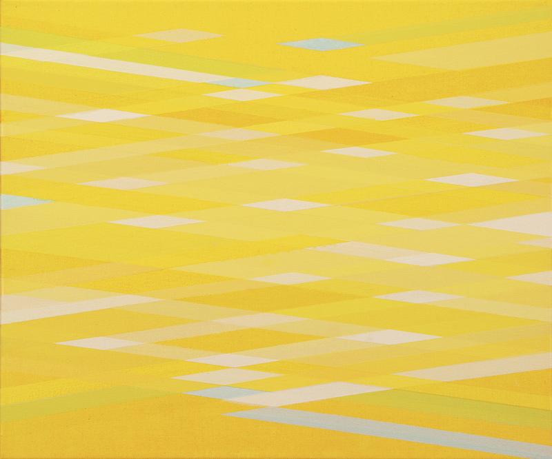 Patio y cauce II. 46x55cm. Acrílico/lienzo. 2015