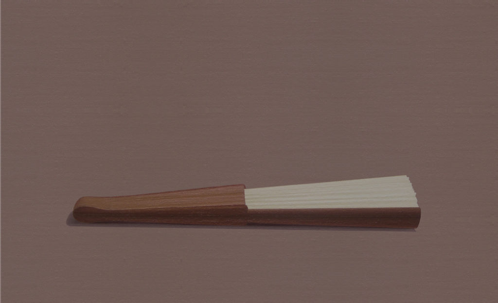 Abanico blanco (2014). Acrílico sobre tela, 22 x 34 cm.