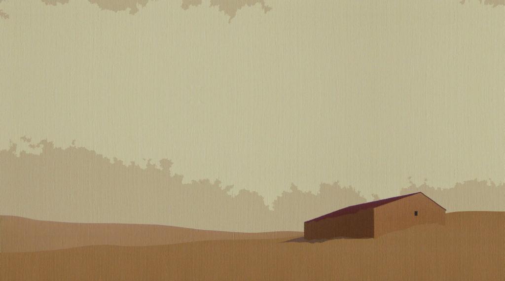 Majada ocre (2014). Acrílico sobre tela, 31 x 55 cm.