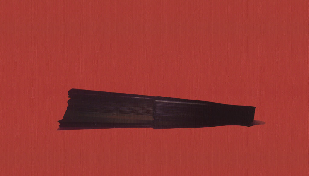 Entreabierto (2015). Acrílico sobre tabla, 23 x 42 cm.