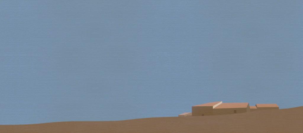 Aldea (2013). Acrílico sobre tela, 22 x 50 cm.