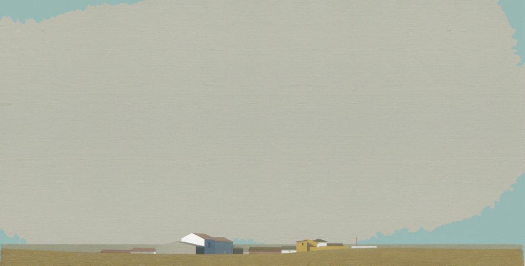 Gran nube gris (2016). Acrílico sobre tela, 32 x 60 cm.