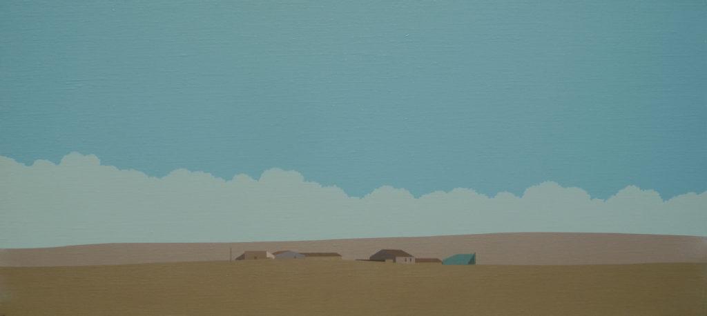 Frontón (2016). Acrílico sobre tela, 31 x 68 cm.
