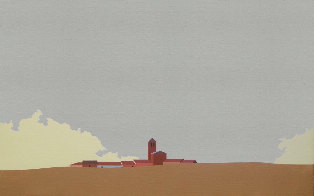 Espadaña (2015). Acrílico sobre tela, 38 x 61 cm.