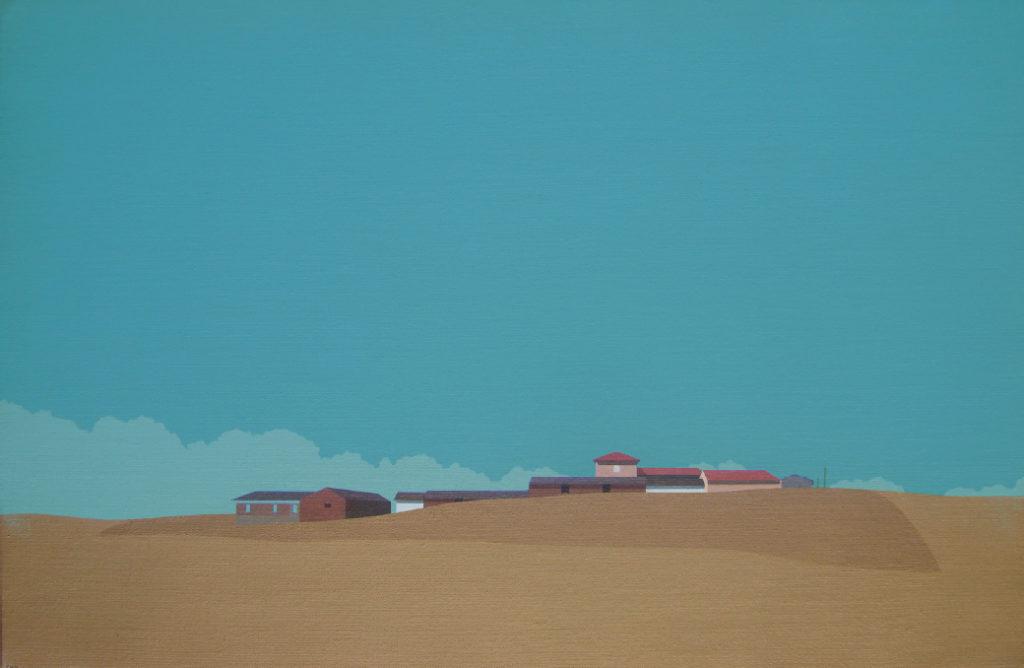 Pueblo y barbecho (2016). Acrílico sobre tela, 33 x 50 cm.