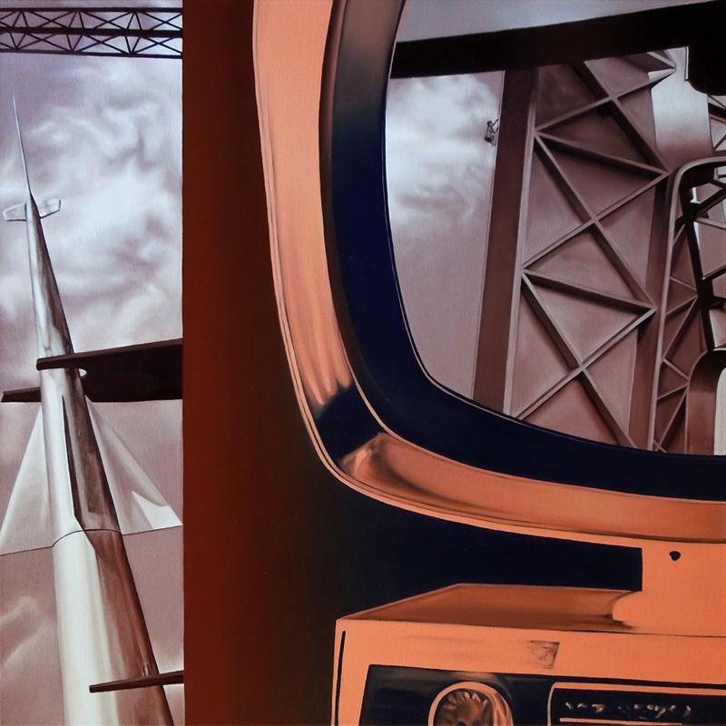Construcción de Acero y Nave Espacial (Óleo sobre lienzo 70x70 cm) 2016