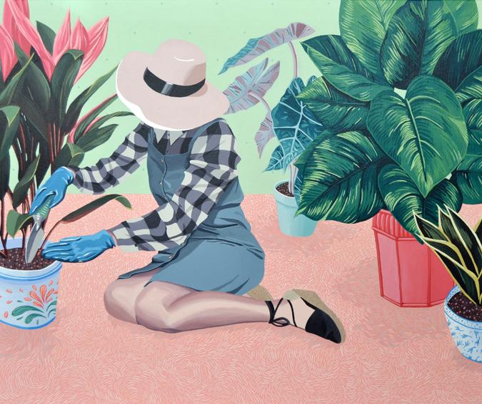 Plantas de interior, 2016. Acrílico sobre lienzo, 60 x 73 cm.