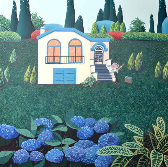 Estrofa-Estribillo, 2016. Acrílico sobre lienzo, 100 x 100 cm.