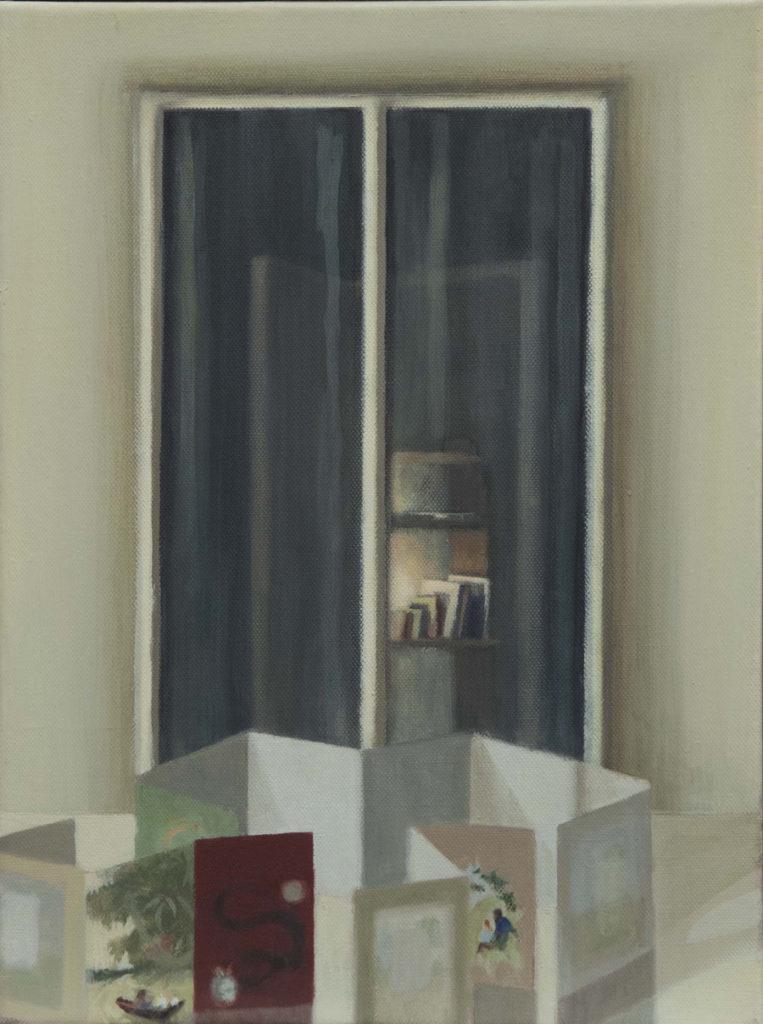 Casa de tintines I, 2017, óleo  / lienzo, 40 x 30 cm.
