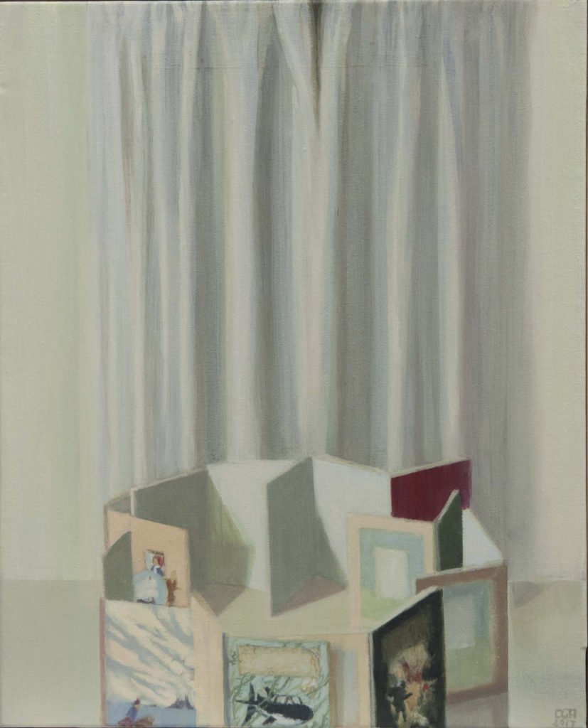 Casa de tintines II, 2017, óleo / lienzo, 41 x 33 cm.
