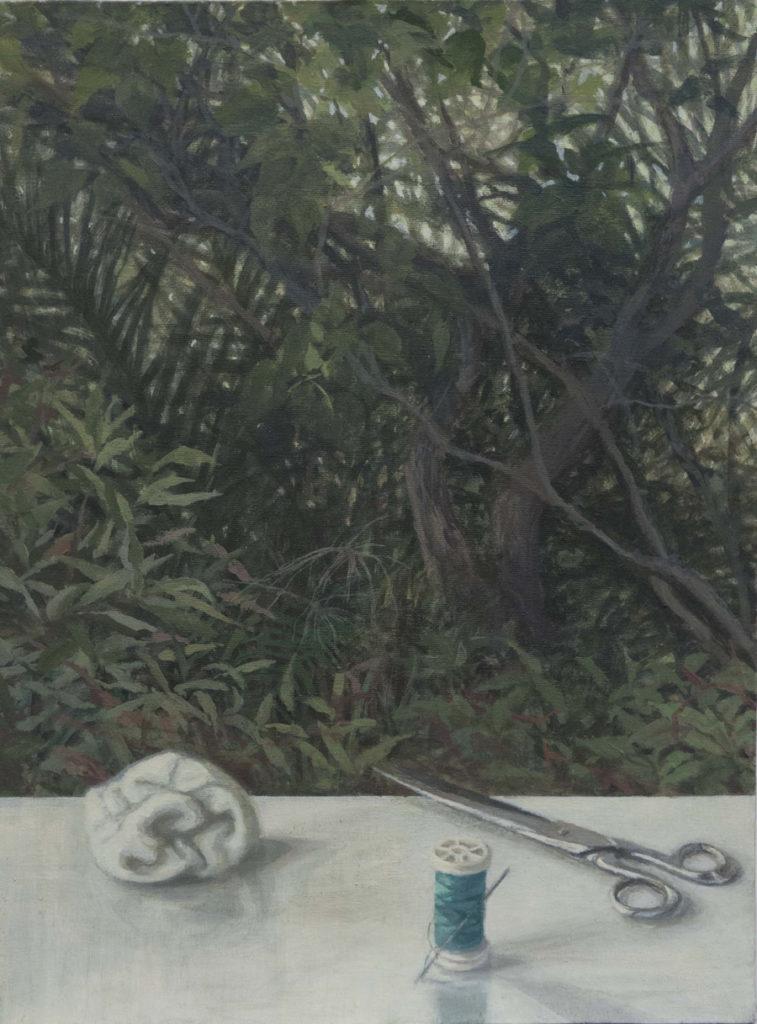 Cuarto de costura -, 2017, óleo / lienzo, 40 x 30 cm.