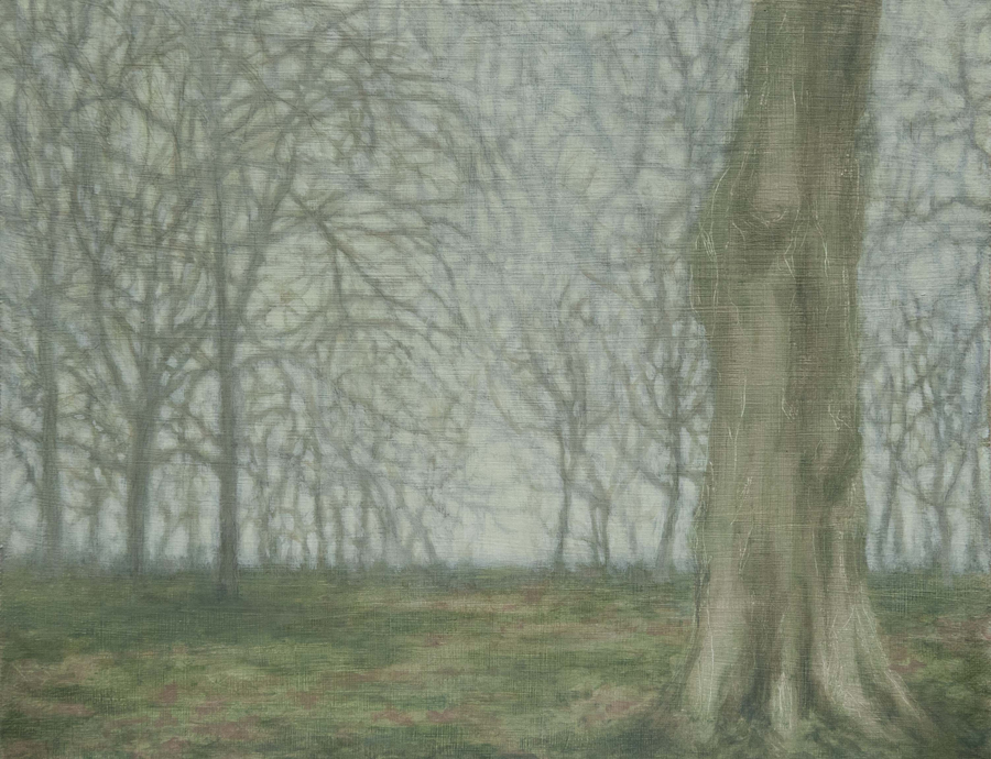 El parque de Londres II, 2017, óleo / lienzo, 27 x 35 cm.