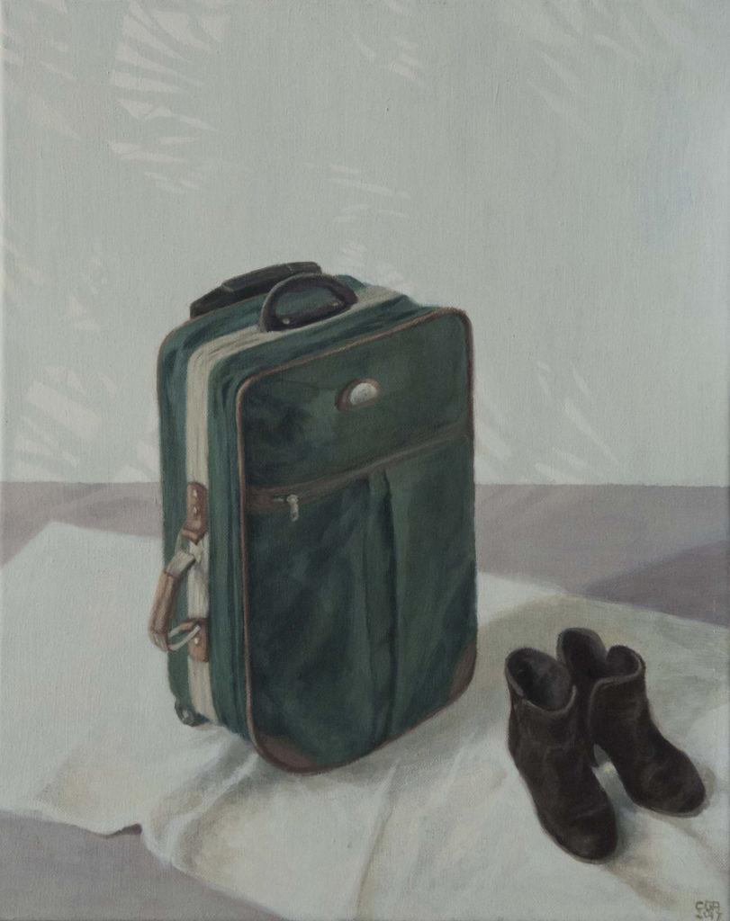 Maleta verde, 2017, óleo  / lienzo, 50 x 40 cm.