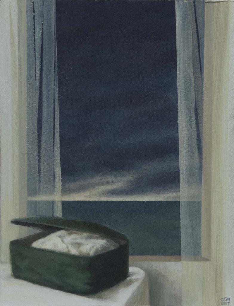 Maleta y mar I, 2017, óleo / lienzo, 35 x 27 cm.