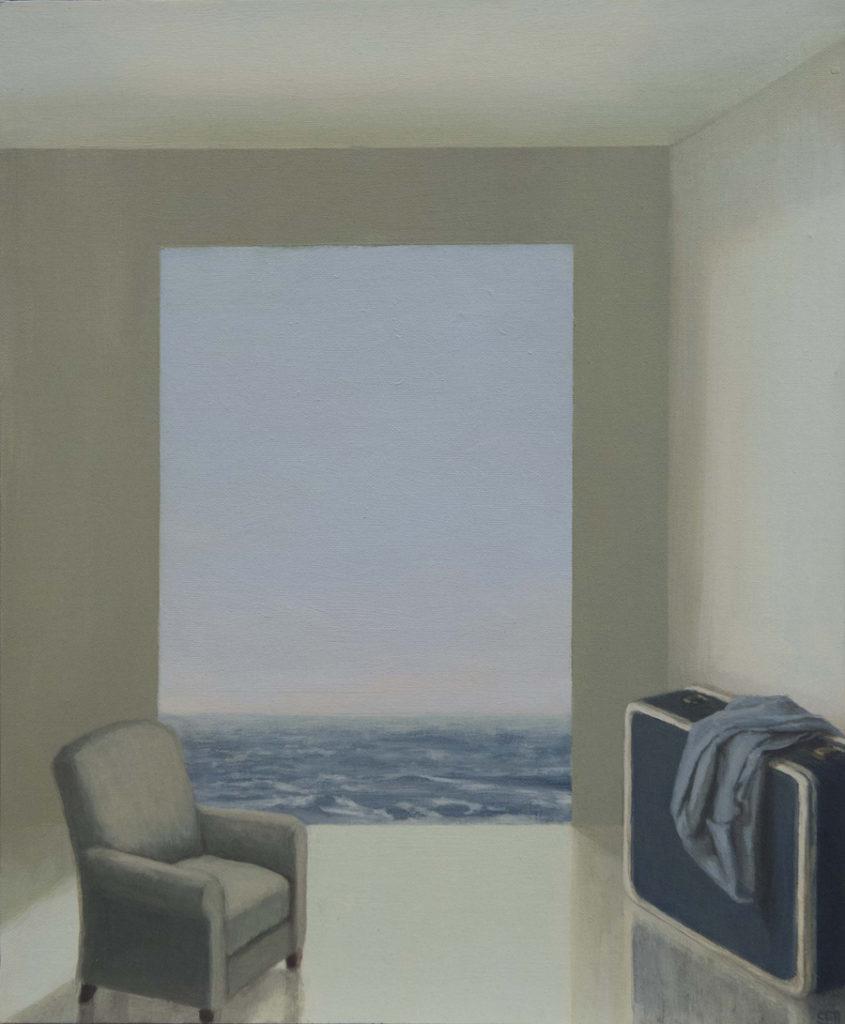 Maleta y mar II, 2017, óleo / lienzo, 35 x 27cm.