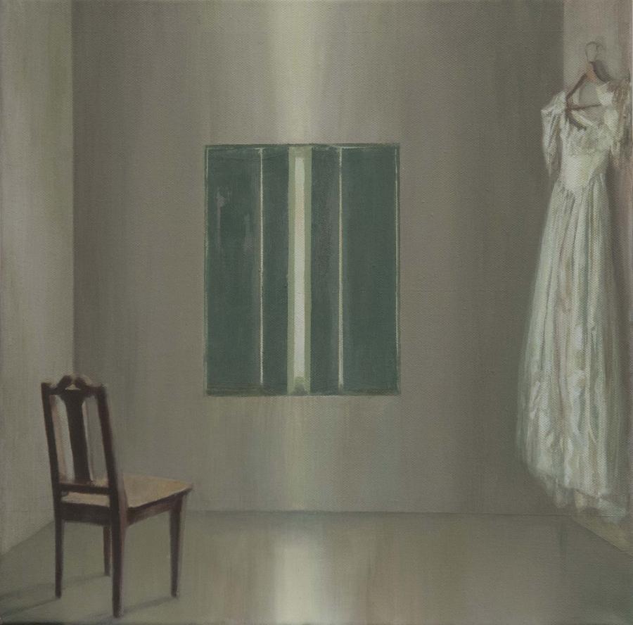 Silla y vestido, 2017, óleo / lienzo, 40 x 40 cm.