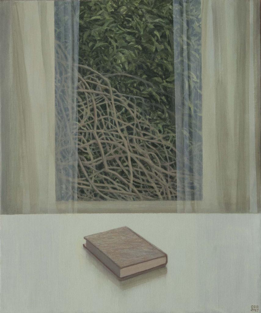 Ventana y libro, 2018, óleo / lienzo, 60 x 50 cm.