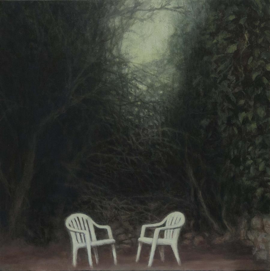 Ya se han ido II (Sillas  y jardín) 2018, óleo / lienzo, 40 x 40 cm.