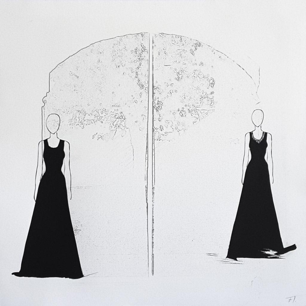 40 x 40 cm, enmarcado. 2018 Técnica mixta, papel de algodón