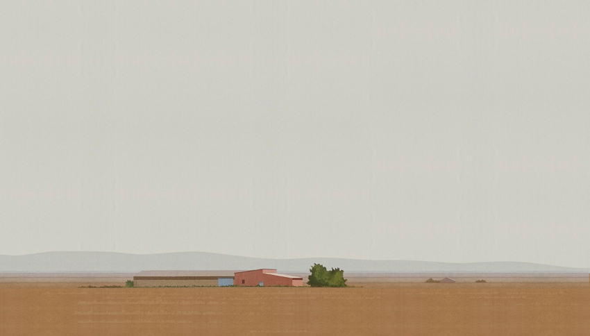 Casa de labor. 34x59 cm. Acrílico sobre tela
