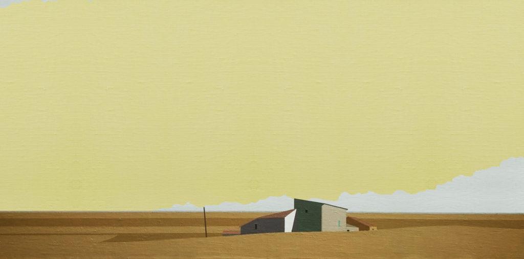 Casas y campos. 42x24 cm. Acrílico sobre tela