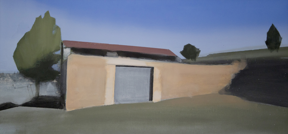 El Corral. Óleo sobre lienzo. 47 x 97 cm.