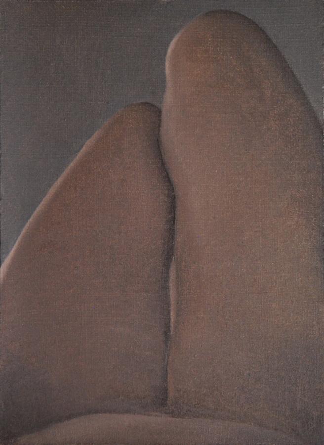 """Autorretrato noche. Tumbada"" óleo sobre tabla. 31x23. 2018."