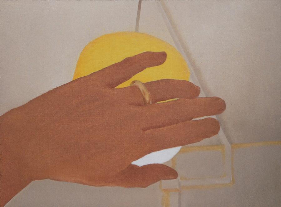 """Autorretrato tarde. mano"" óleo sobre tabla. 17x23. 2018."