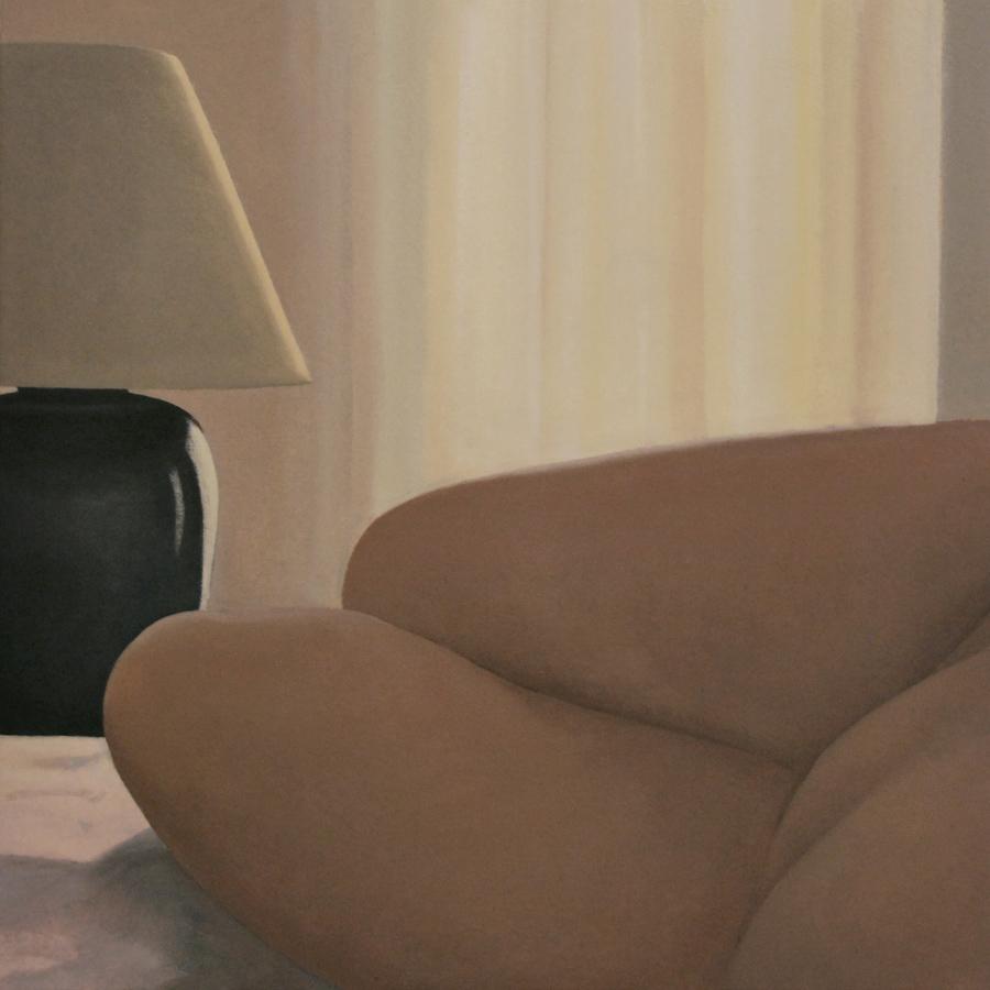 """""""Autorretrato con lámpara"""" óleo sobre lienzo. 50x50. 2018."""