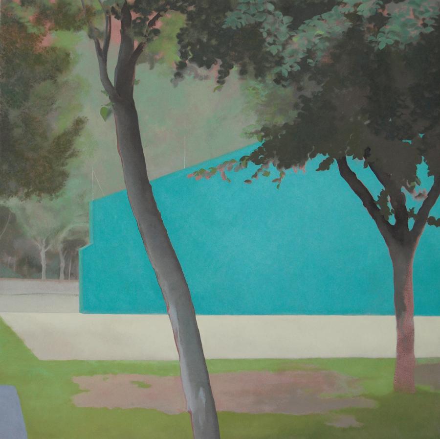 """""""Frontón con árboles"""" óleo sobre tabla. 90x90."""