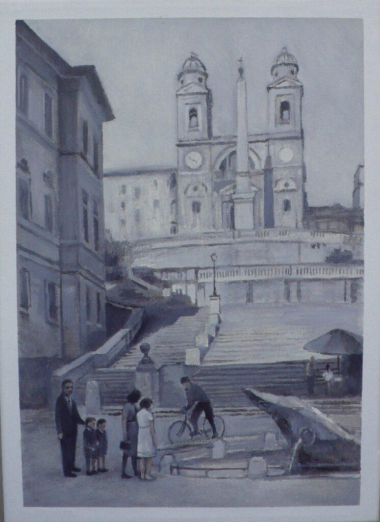 Familia en Piazza Spagna, oleo-lienzo 33x24 cm