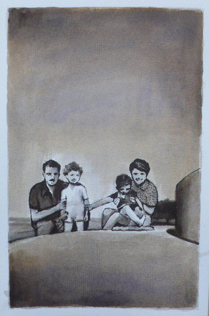 Familia posando, tinta sobre papel, 14,5 x 9,5 cm