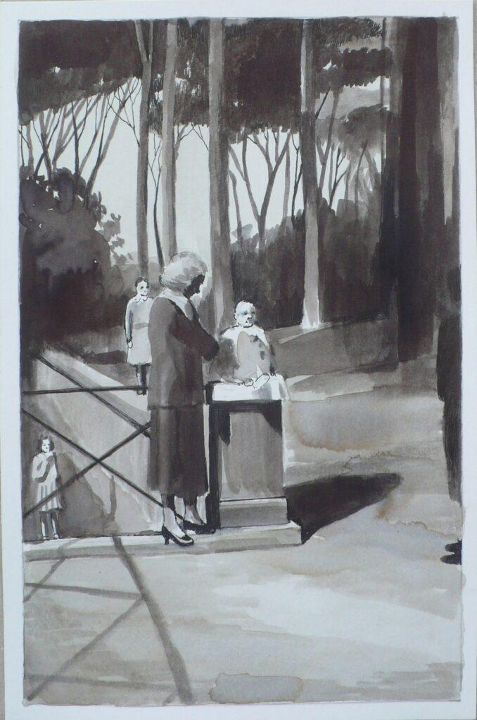 Famlia en Villa Borghese, tinta sobre papel, 24x16 cm