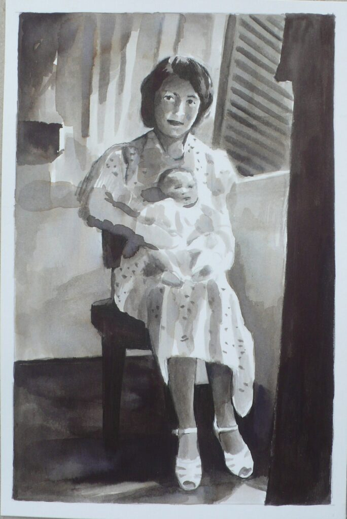 Giulio recien nacido, tinta sobre papel, 24x16 cm