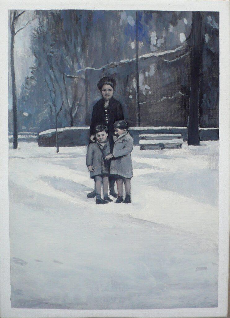 Giulio y Luciano con su madre en Villa Borghese oleo-lienzo 33x24 cm