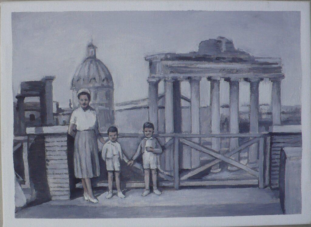 Giulio y Luciano con su madre junto a los Foros Imperiales, oleo-lienzo, 24x33cm