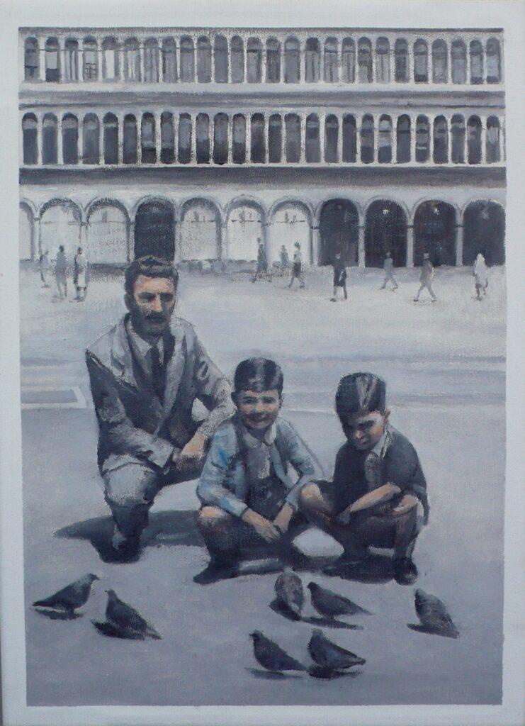Giulio y Luciano con su padre en Venecia, oleo-lienzo 33x24 cm